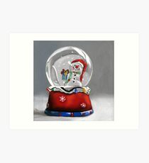 Snow globe - christmas painting Art Print