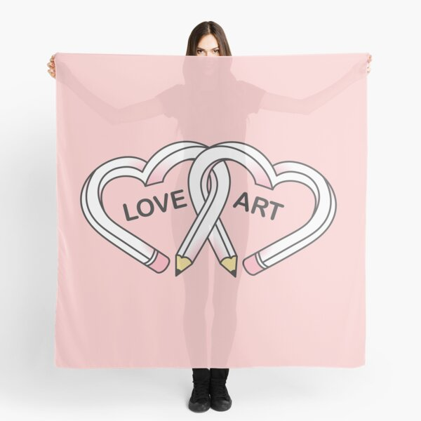 Love Art pink pencils Scarf
