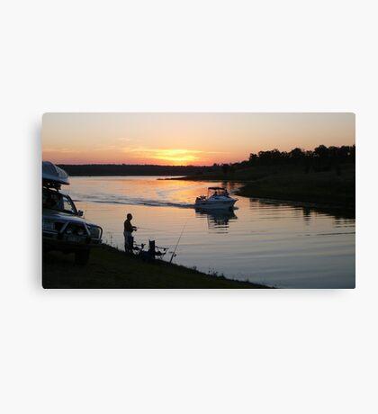 Fishing at Sunset, Lake Boondooma Canvas Print
