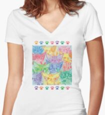 Chalk drawing of cats Women's Fitted V-Neck T-Shirt