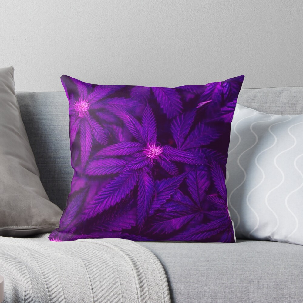 Deep Violet Purple Kush Cannabis 420 Marijuana Throw Pillow