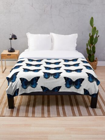 Blue Monarch Butterfly Throw Blanket