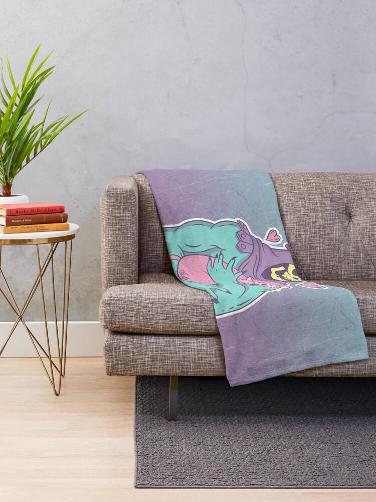 Alternate view of Skeletor's Cat Throw Blanket