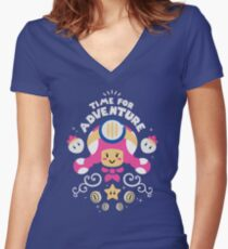 Time for Adventure Toadette Women's Fitted V-Neck T-Shirt
