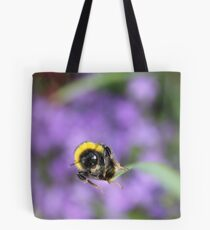 Bumble bee on leaf Tote Bag
