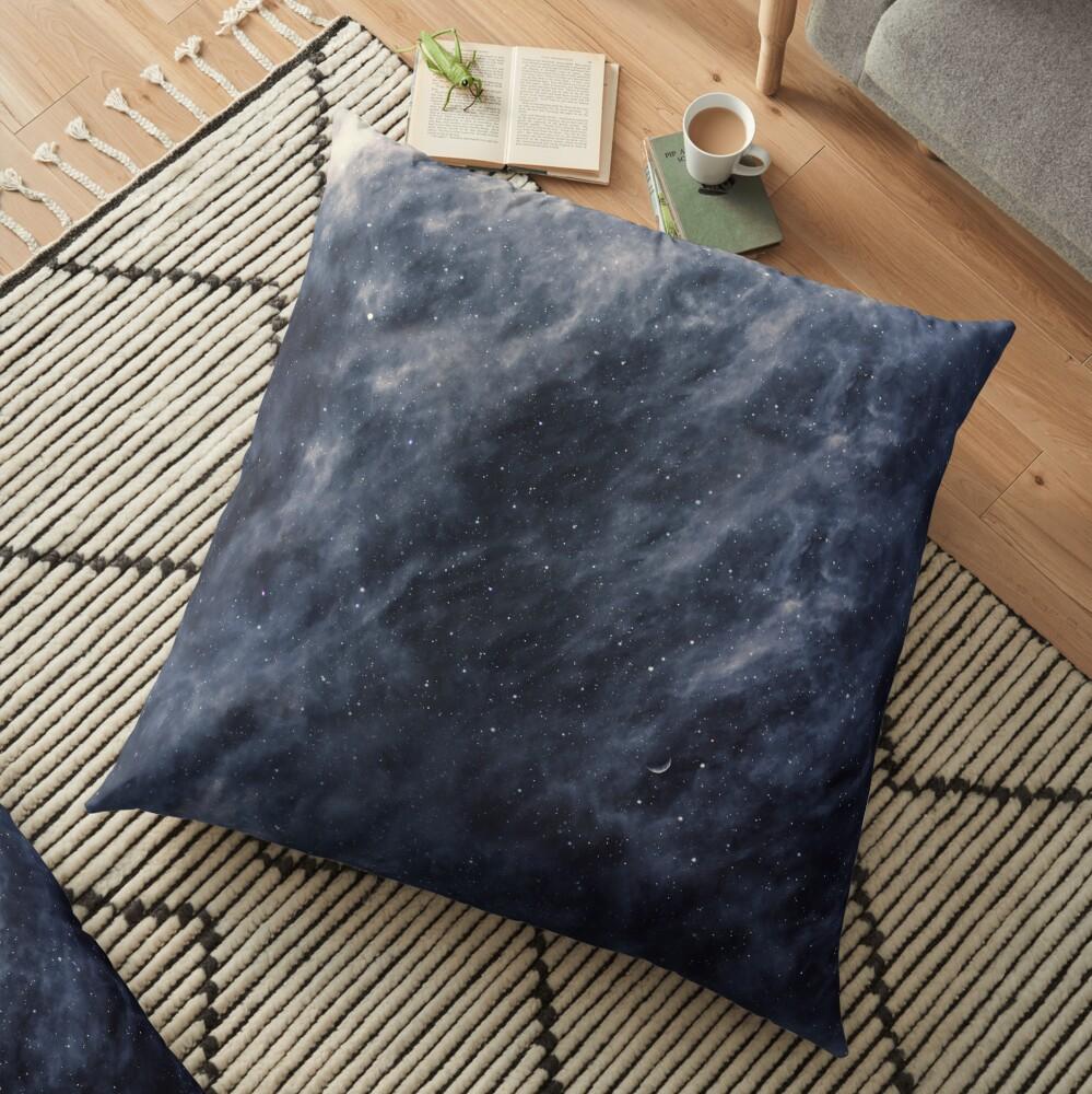 Blue Clouds, Blue Moon Floor Pillow