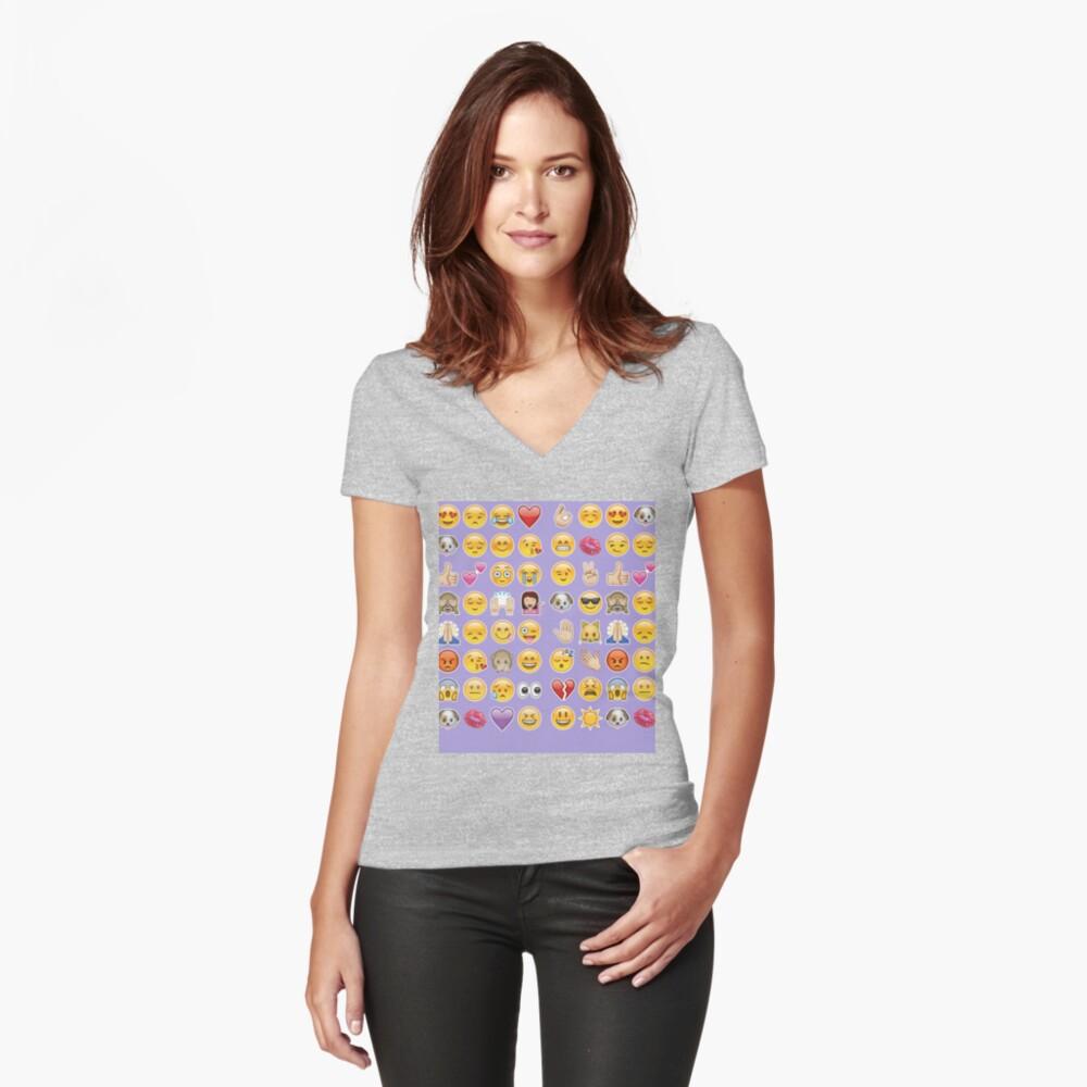 Pastell lila Emoji Tailliertes T-Shirt mit V-Ausschnitt
