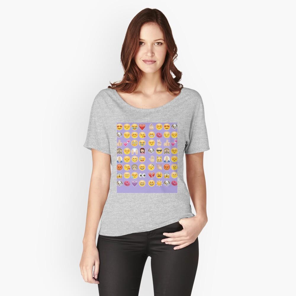 Pastell lila Emoji Loose Fit T-Shirt