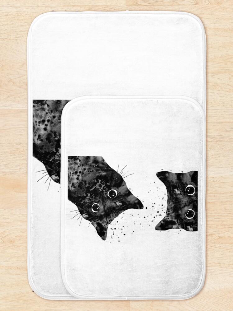 Alternate view of Peeking cat  Bath Mat