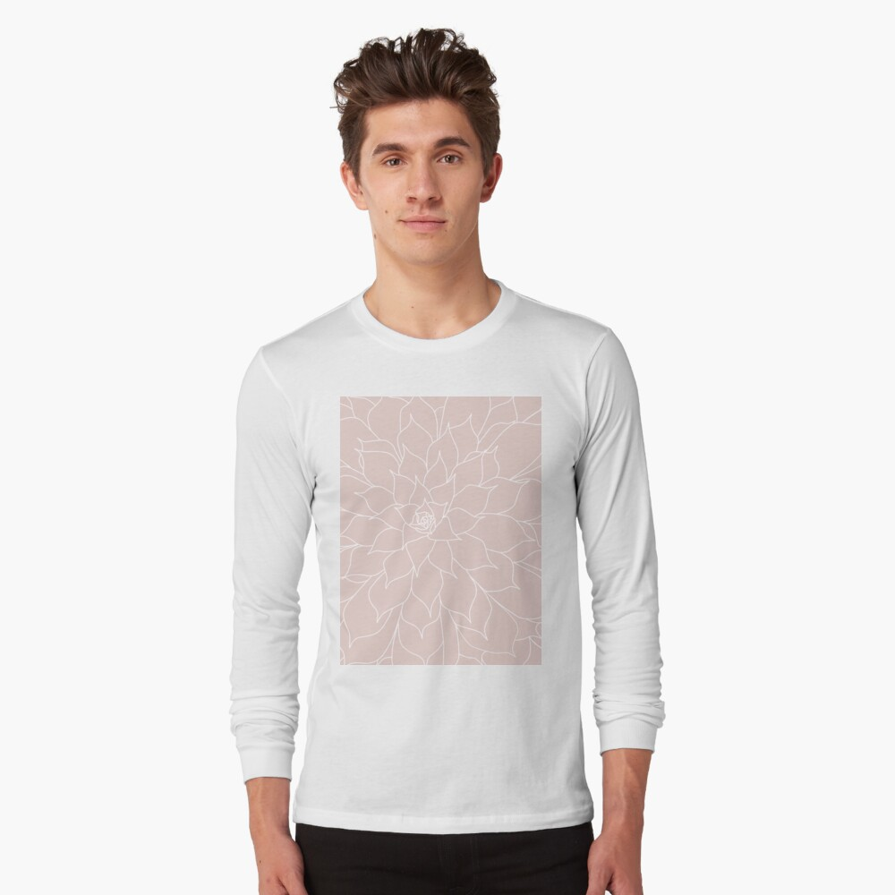 Blush Pink Succulent Long Sleeve T-Shirt