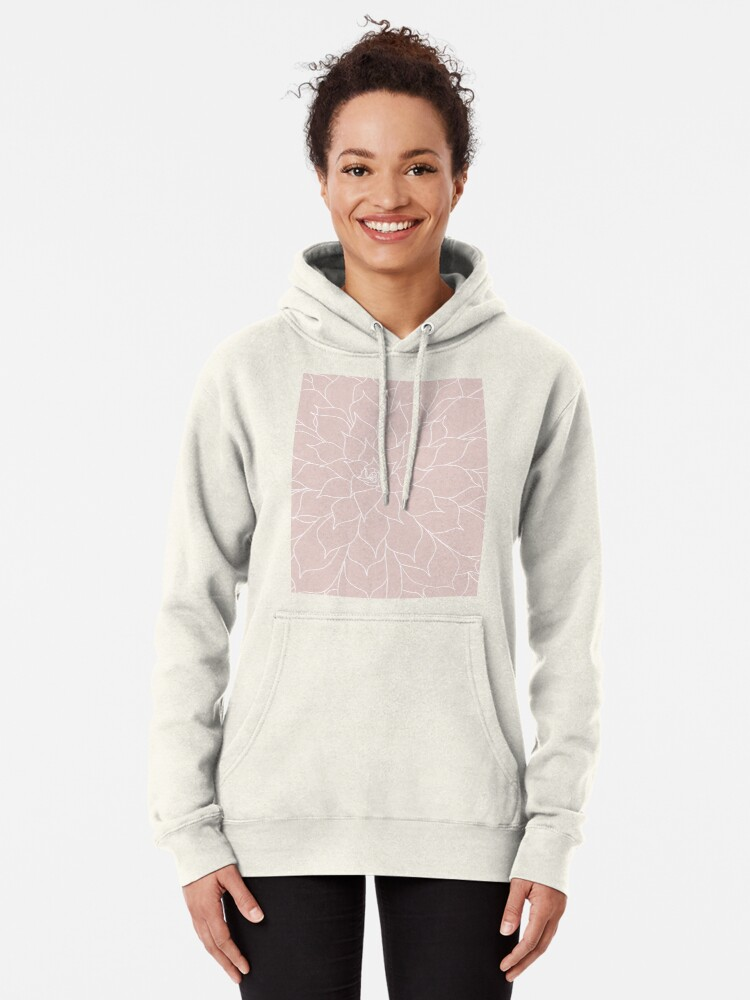 Alternate view of Blush Pink Succulent Pullover Hoodie