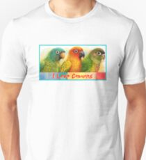 Sun blue-crowned green-cheeked conures realistic painting Unisex T-Shirt
