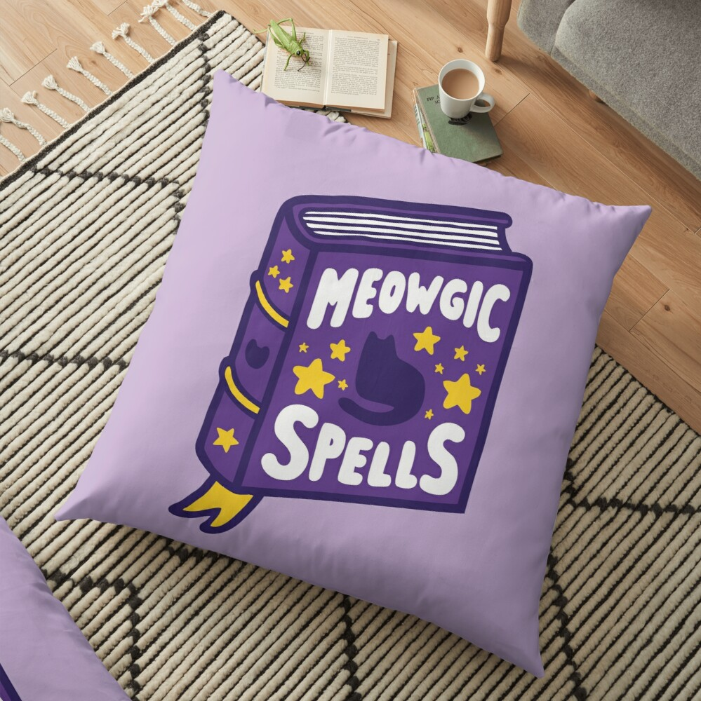 Meowgic Spells Book Floor Pillow