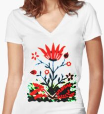 Forest Fire Flower Fitted V-Neck T-Shirt