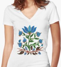 Burst of Blue Flowers Fitted V-Neck T-Shirt