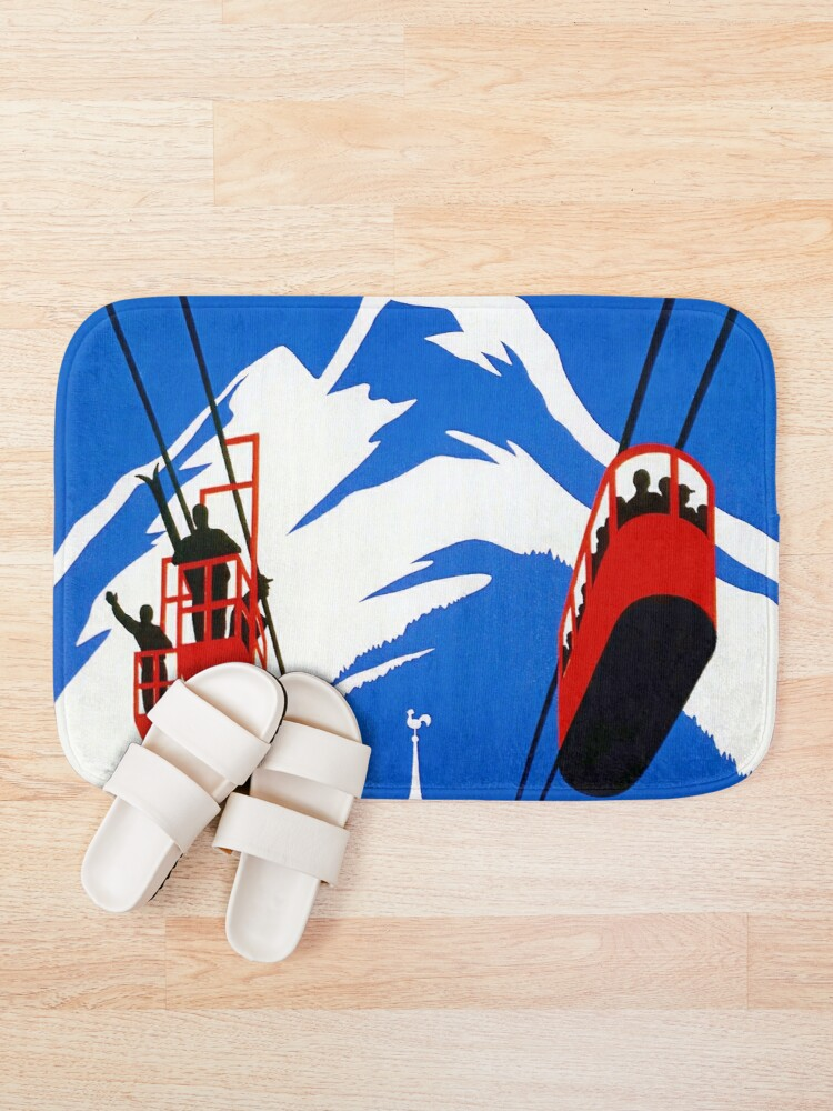 Alternate view of Vintage French Alps Gondola Winter sport ski ad Bath Mat