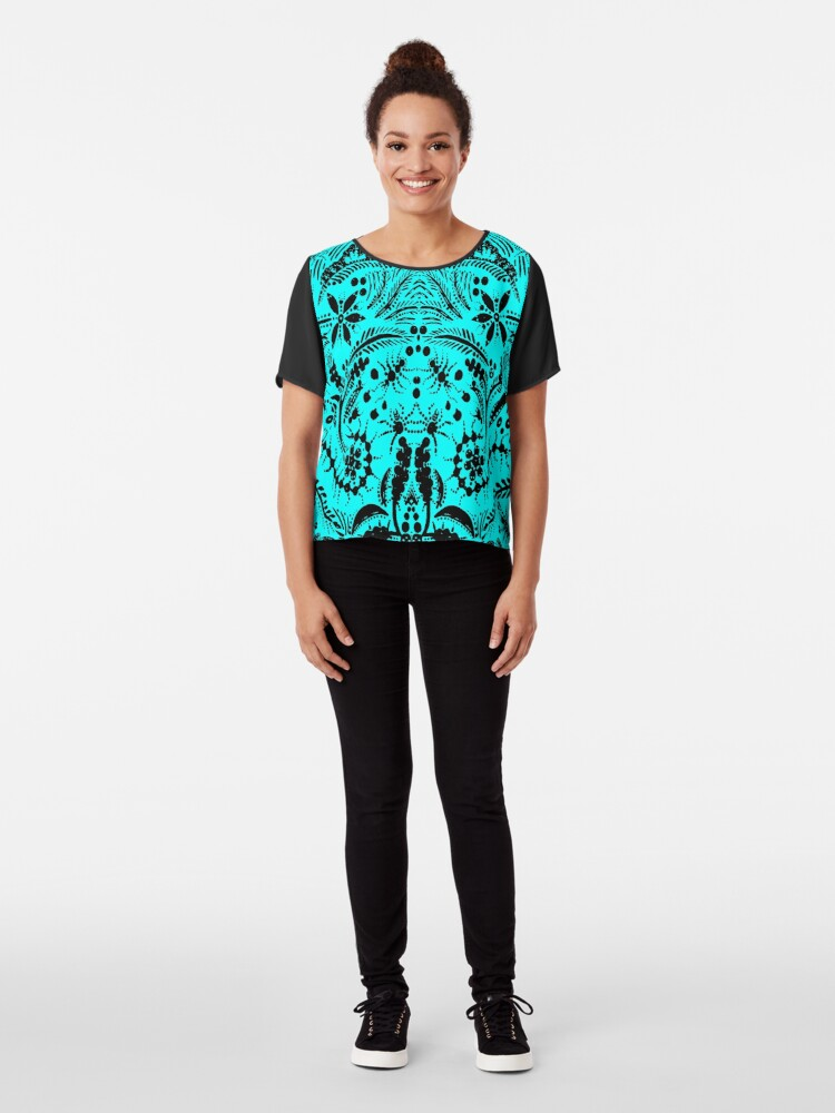 Alternate view of Black and Blue Jungle Chiffon Top