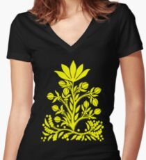 Yellow Velvet Flower on Black Fitted V-Neck T-Shirt