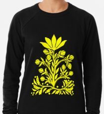 Yellow Velvet Flower on Black Lightweight Sweatshirt