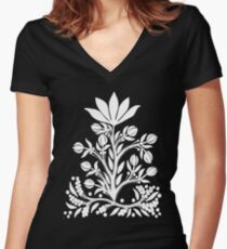 White Velvet Flower on Black Fitted V-Neck T-Shirt