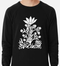White Velvet Flower on Black Lightweight Sweatshirt