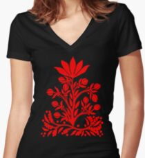 Red Velvet Flower Fitted V-Neck T-Shirt