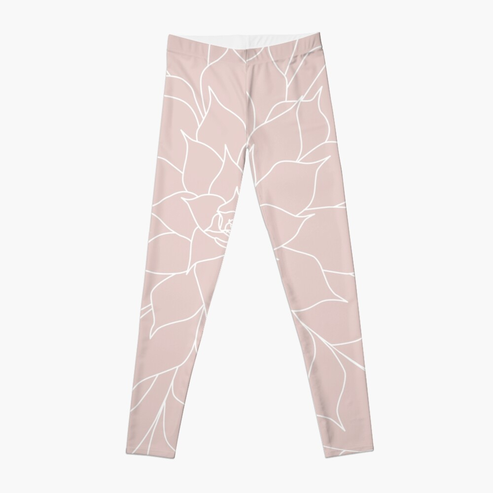 Blush Pink Succulent Leggings