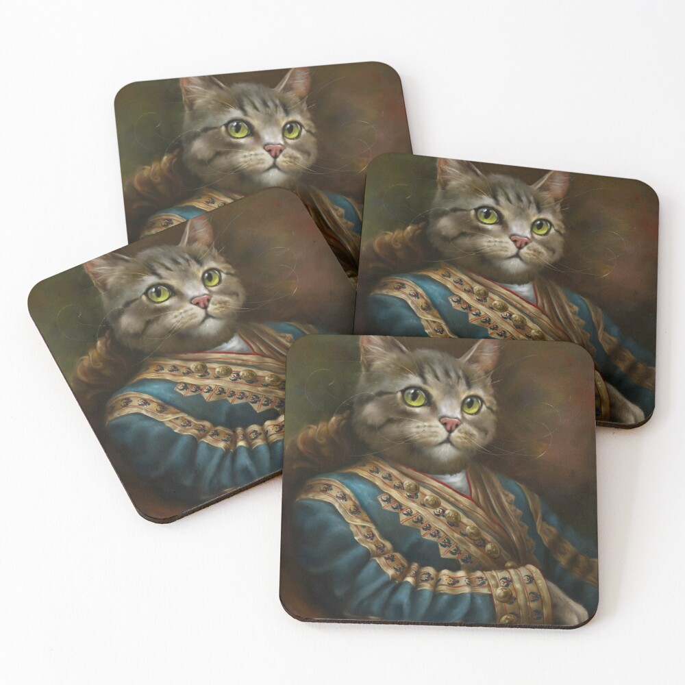 The Hermitage Court Outrunner Cat, alternative proportions Coasters (Set of 4)
