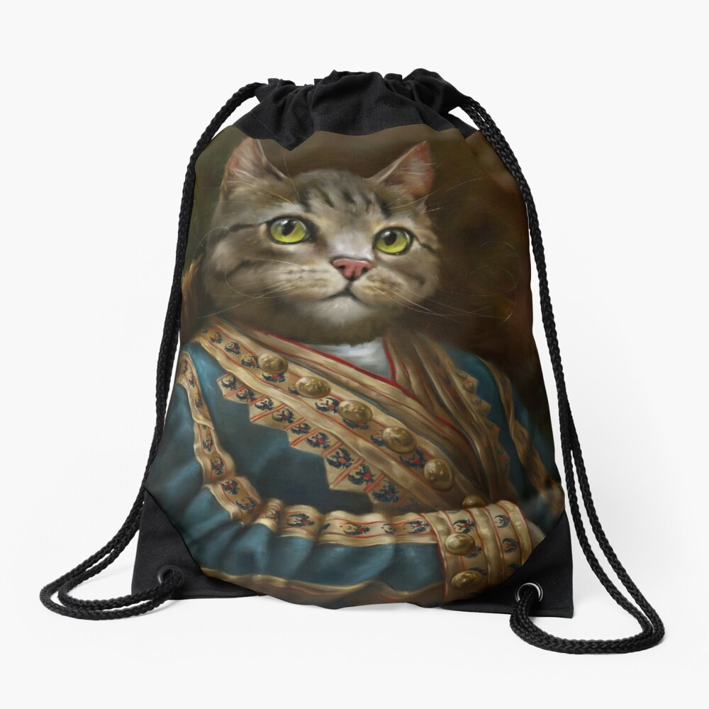 The Hermitage Court Outrunner Cat, alternative proportions Drawstring Bag