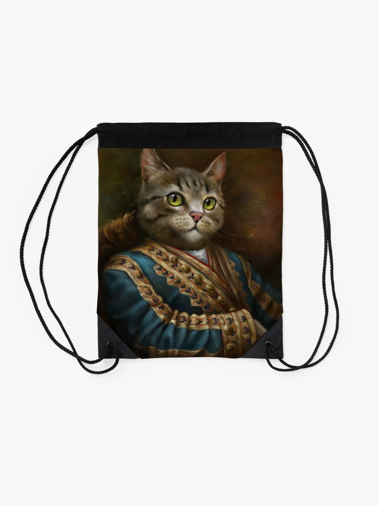 Alternate view of The Hermitage Court Outrunner Cat, alternative proportions Drawstring Bag