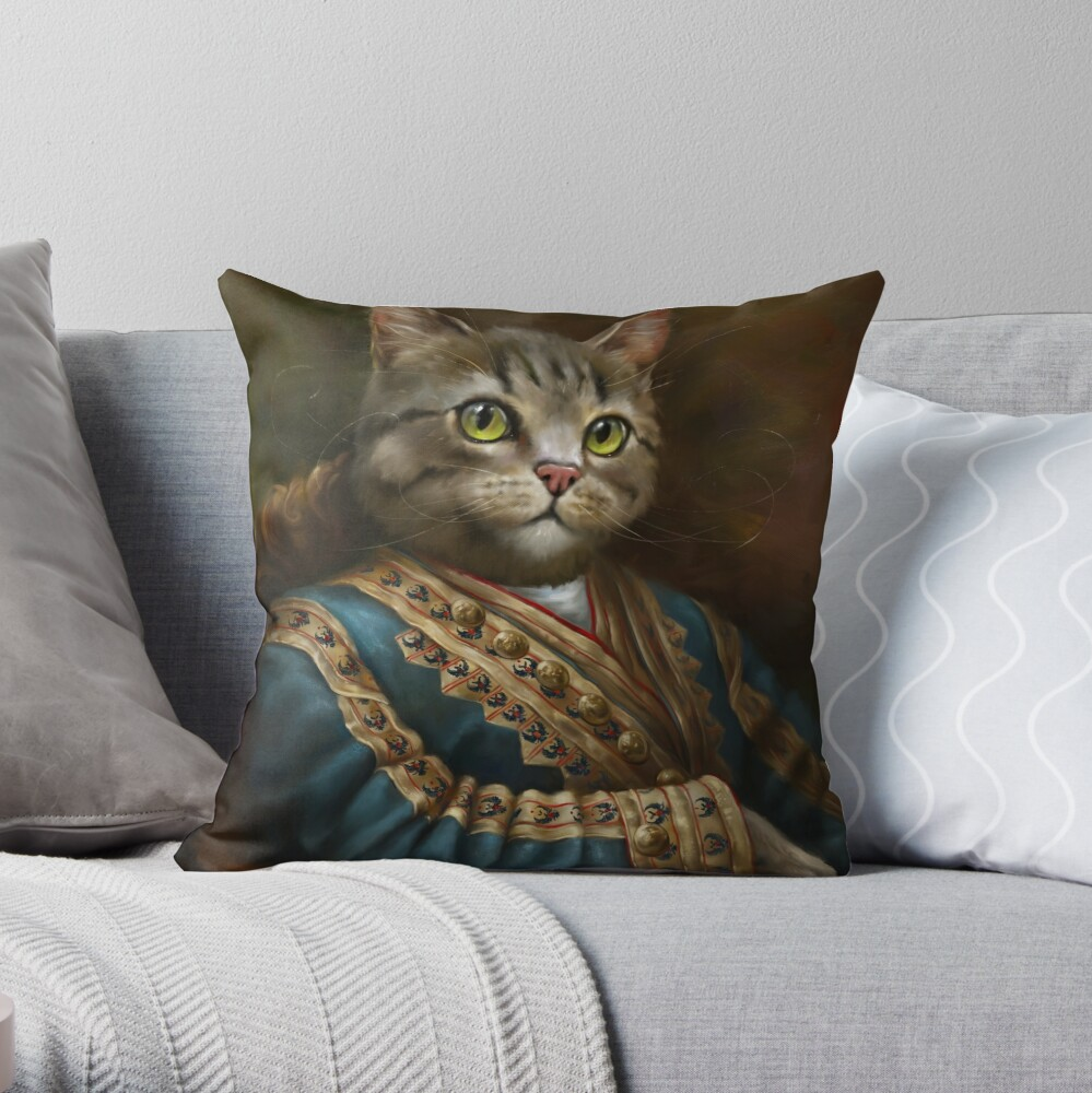 The Hermitage Court Outrunner Cat, alternative proportions Throw Pillow