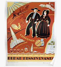 WPA United States Government Work Project Administration Poster 0369 Rural Pennsylvania Costumes Towns Agriculture Ceramics Architecture Poster