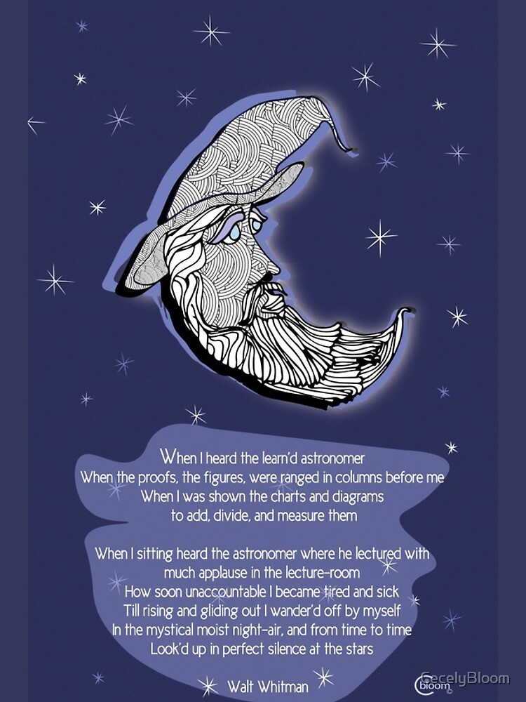 Walt Whitman Moon Portrait  with Poem  When I Heard the Learnd Astronomer by CecelyBloom