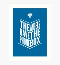 The Angels Have The Phone Box Tribute Poster White On Blue Art Print