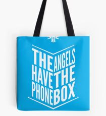 The Angels Have The Phone Box Tribute Poster White On Cyan Tote Bag