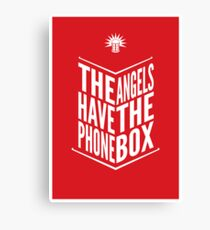 The Angels Have The Phone Box Tribute Poster White On Red Canvas Print