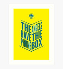 The Angels Have The Phone Box Tribute Poster Dark Blue On Yellow Art Print
