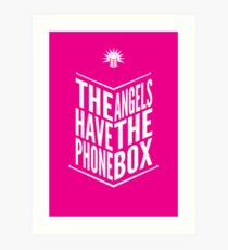 The Angels Have The Phone Box Tribute Poster White on Magenta Art Print