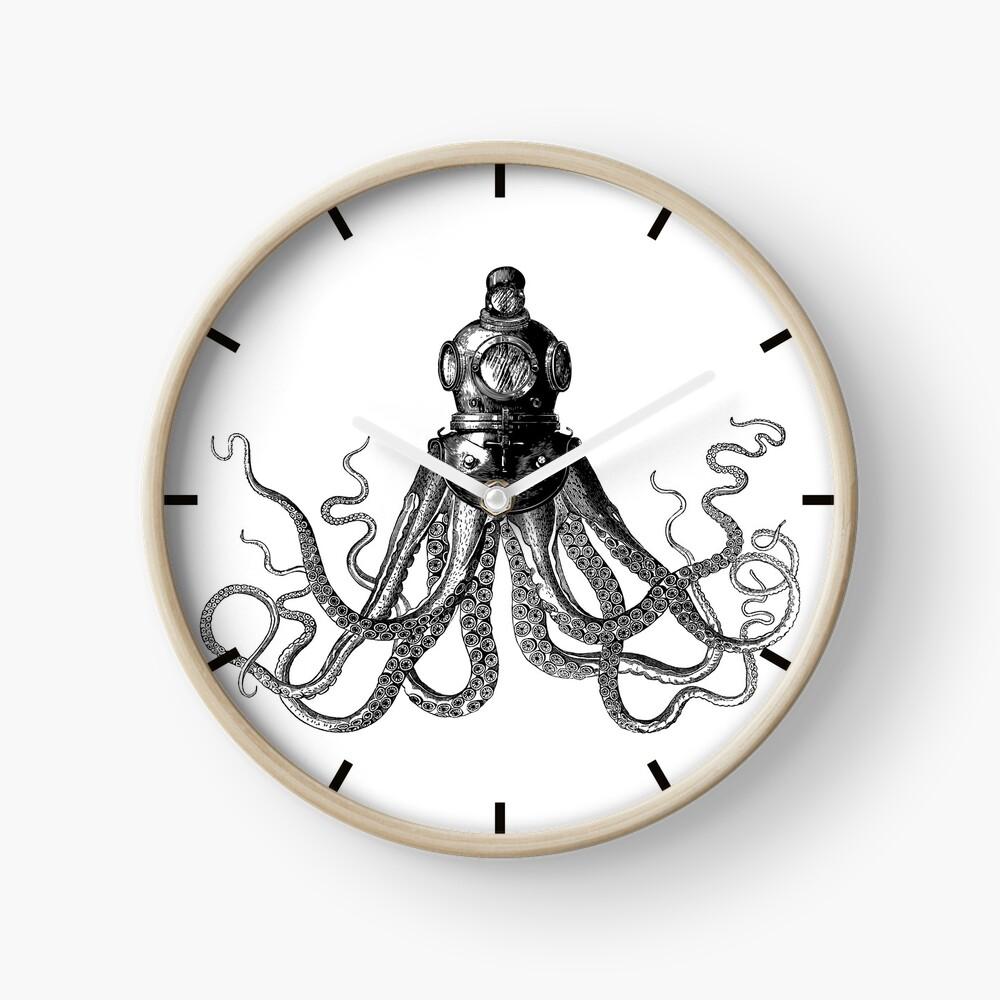 Octopus in Diving Helmet | Deep Sea Divers Helmet | Vintage Octopus | Tentacles | Black and White |  Clock
