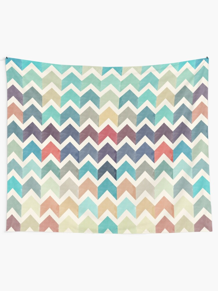 Alternate view of Watercolor Chevron Pattern Tapestry