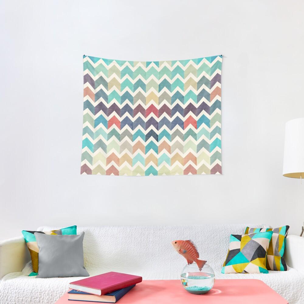 Watercolor Chevron Pattern Tapestry