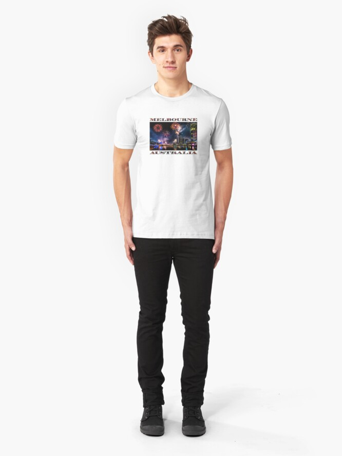 Alternate view of New Year Fireworks, Melbourne Australia Slim Fit T-Shirt