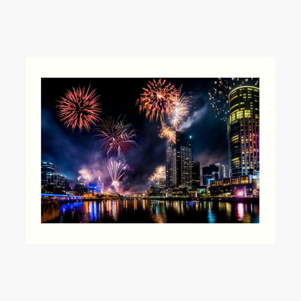 New Year Fireworks, Melbourne Australia Art Print