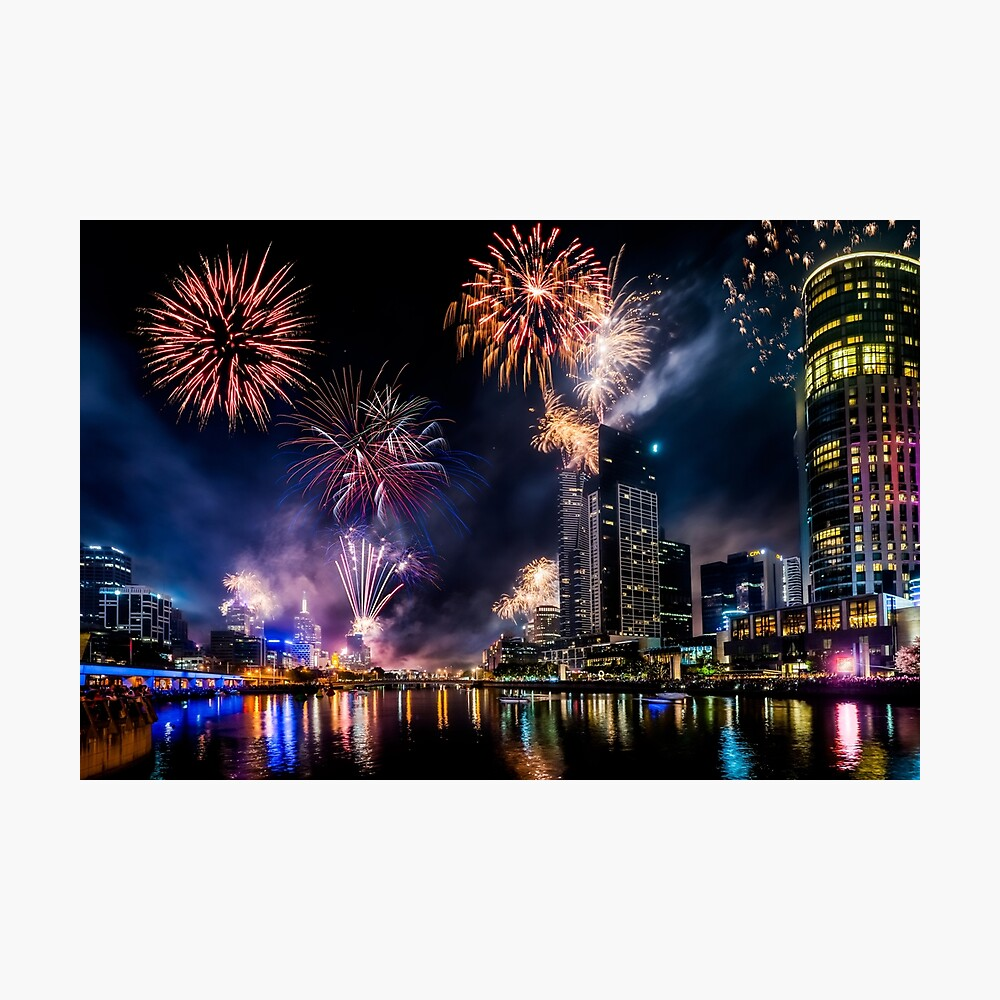 New Year Fireworks, Melbourne Australia Photographic Print