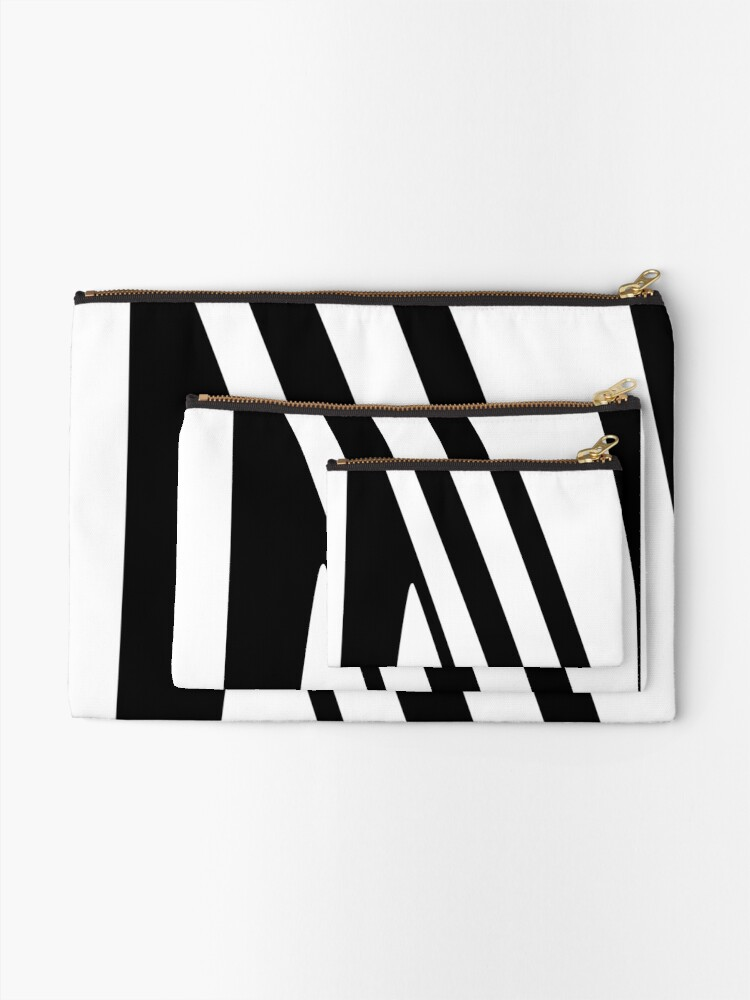 Alternate view of White and Black Thin Dazzle Zipper Pouch
