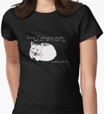 Lord Tubbington thinks you're purrrrfect. (Black Version) Women's Fitted T-Shirt