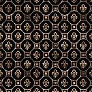 Fleur-de-Lis-Muster - Schwarz und Gold von k9printart
