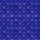 Fleur-de-Lis-Muster - Lapislazuli und Gold von k9printart