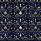 Elegantes Lilie-Muster - Gold und tiefes Blau von k9printart