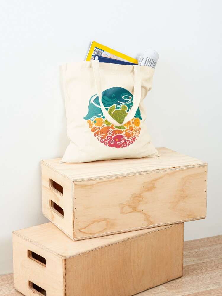 Alternate view of Aquatic Rainbow (light blue) Tote Bag